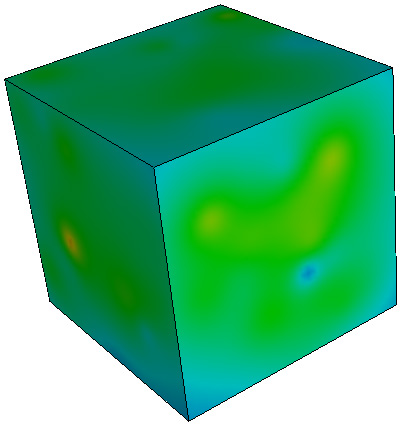 shows the entire three-dimensional volume. The second image