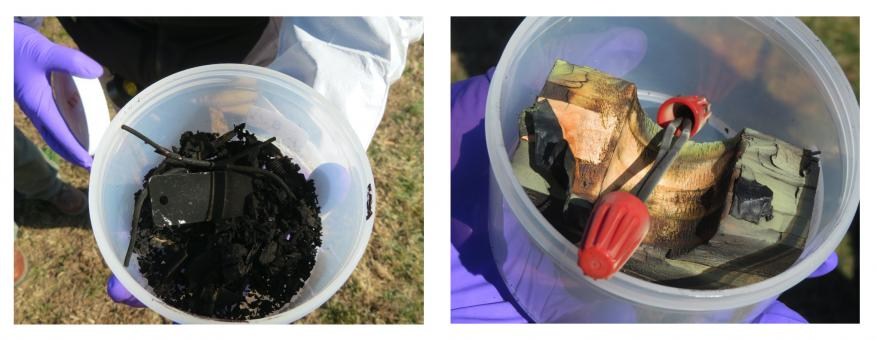 The shattering power of C-4 is evident in the post shot sample (left) compared with a black powder post shot sample (right). Both contained roughly the same net explosive weight, or TNT equivalent.